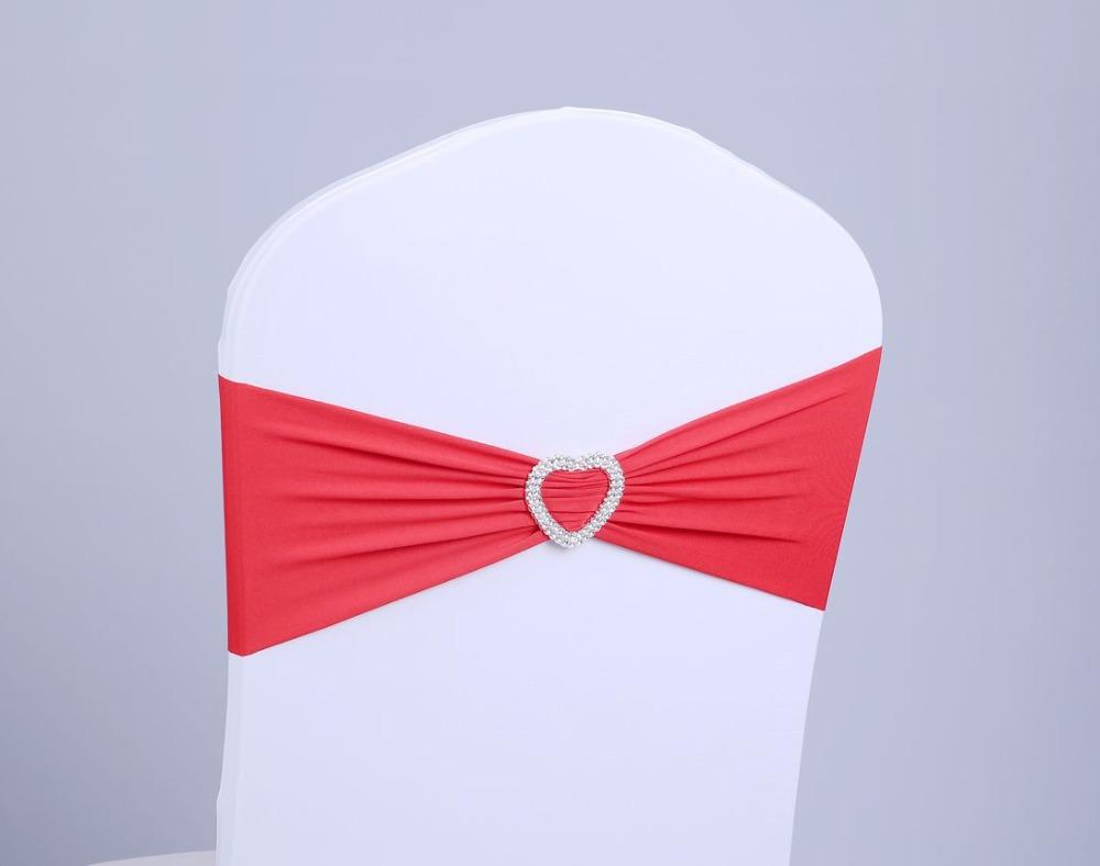 2015 Wedding Chair Sashes Heart Disposable Elastic Chair Covers Double Buckle