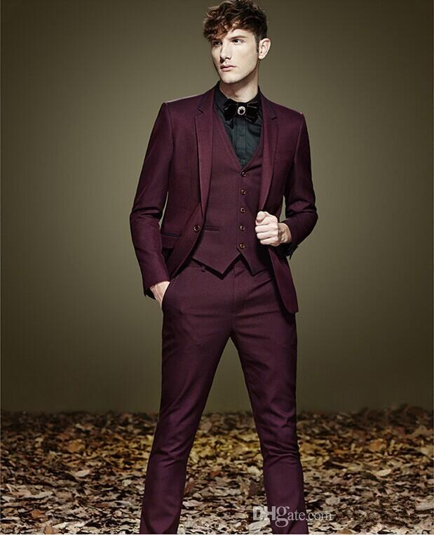 Notch Lapel One Button Dark Red Groom Tuxedos Suit Men'S Suits ...