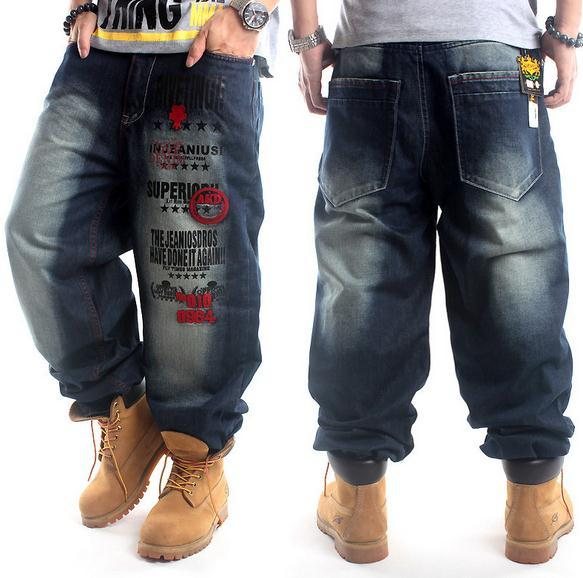 Plus Size Hip Hop Baggy Jeans Men Letter Print Hip Hop Dance Pants