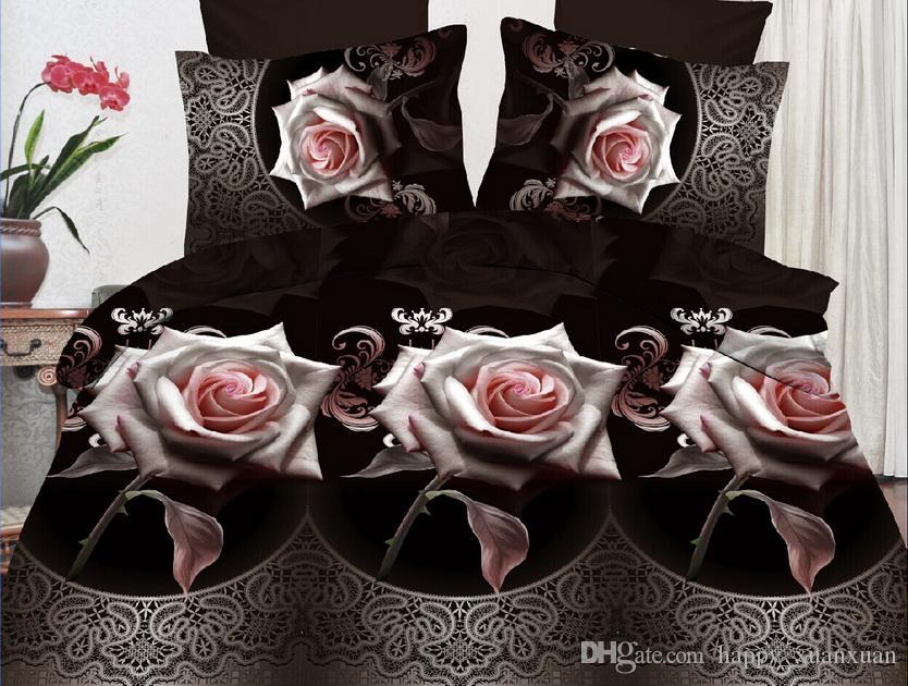 Home Textiles New Style Rose Love Design 3D Bedding Setof Duvet Cover Bed Sheet Pillowcase Bedding Set Bed Sheet Pillowcase Online with $43.72/Set on ... & Home Textiles New Style Rose Love Design 3D Bedding Setof Duvet ... pillowsntoast.com