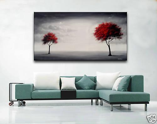 2017 handmade red black trees landscape modern abstract - Large pictures for living room ...