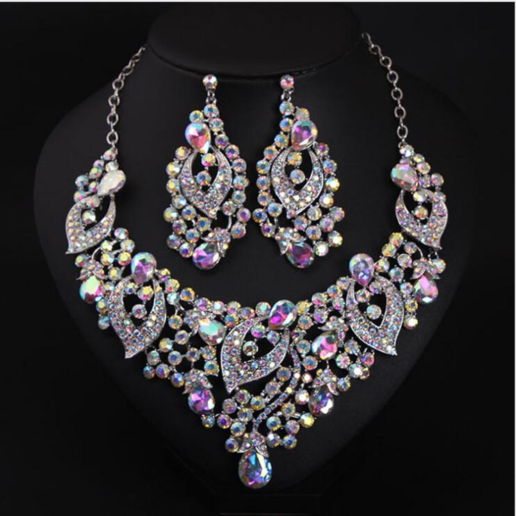 Expensive Luxuyry Colorful Bridal Jewelry With Crystal