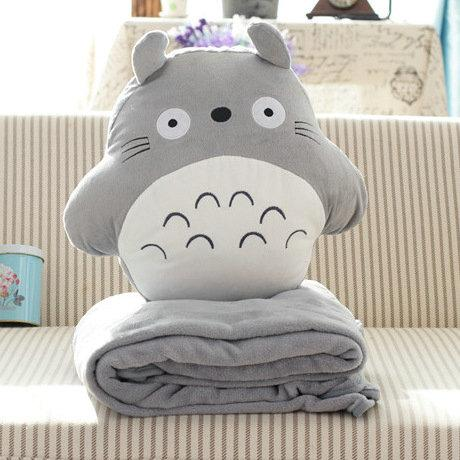 2017 Totoro Air Condition Blanket Pillow Quilt Two Use Coral Fleece Plush Dolls Toys Stuffed ...