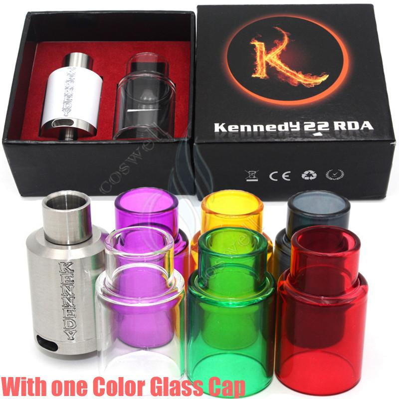 Kennedy 22 rda with extra pyrex glass tube kit dripper atomizers wide bore drip tip 3mm post