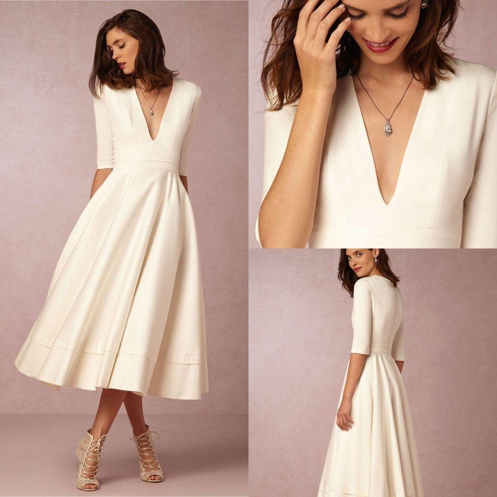 Discount Tea Length Wedding Dresses Long Sleeve Wedding