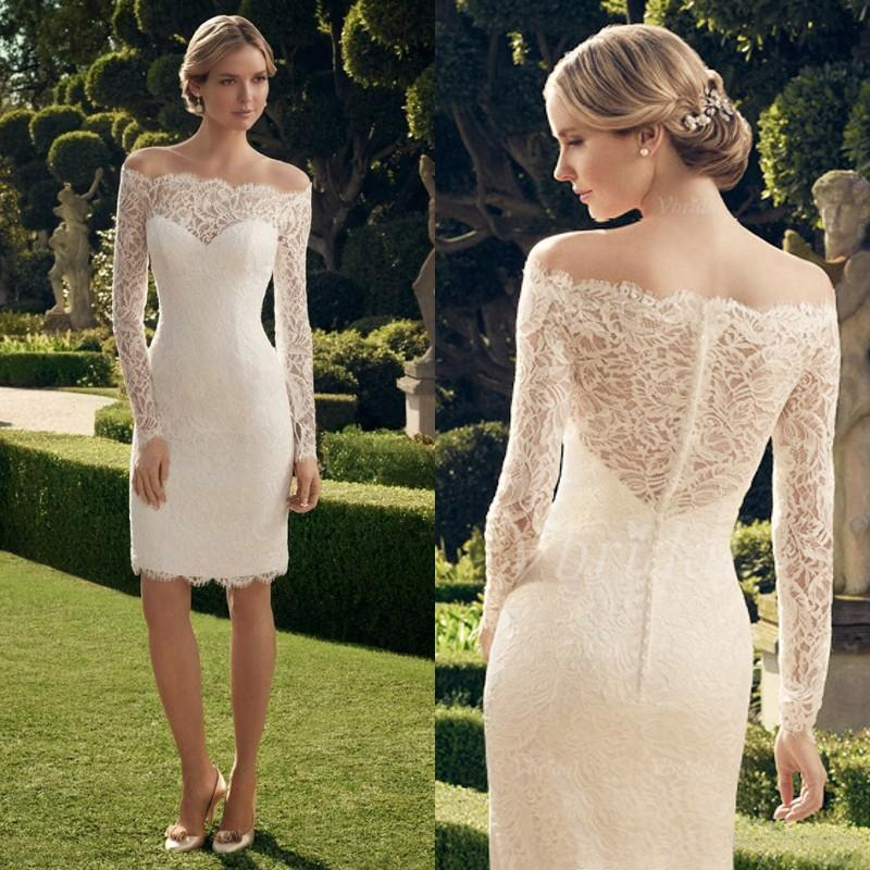 Sheath casual wedding dresses 2015 short summer beach lace for Knee length wedding dresses with sleeves