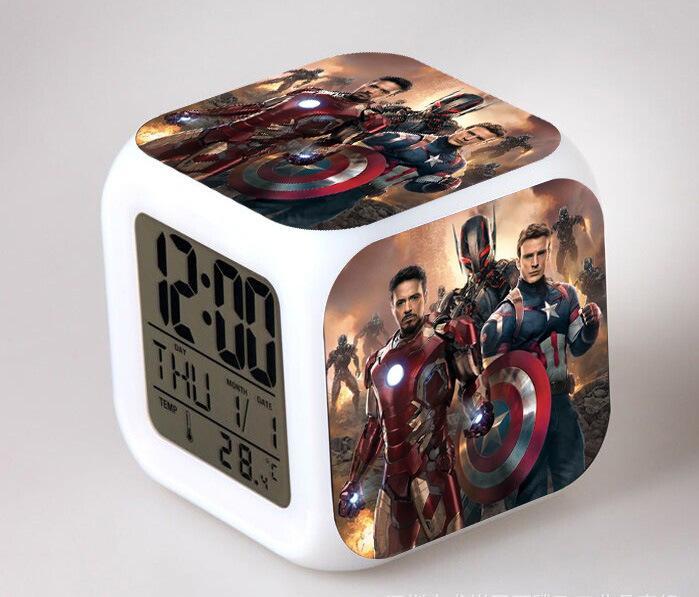 online cheap avengers alliance alarm clock led change digital frozen alarm clock thermometer. Black Bedroom Furniture Sets. Home Design Ideas
