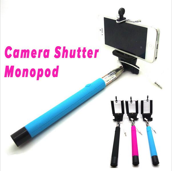 audio cable wired selfie stick extendable handheld remote shutter monopod for. Black Bedroom Furniture Sets. Home Design Ideas