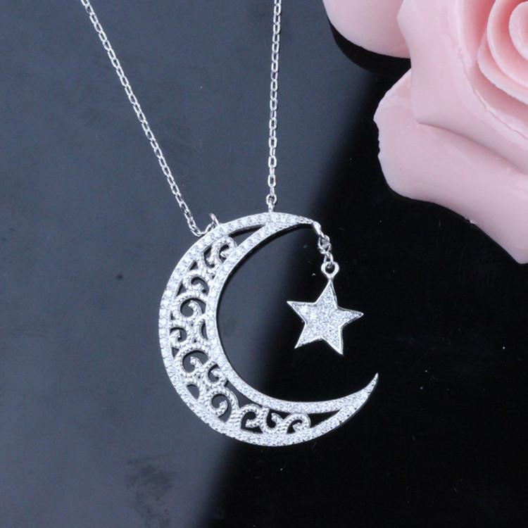 925 Sterling Silver Necklace Necklace Meaning Moon Stars