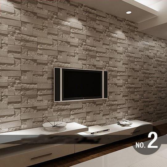 Stacked brick 3d stone wallpaper modern wallcovering pvc for Pared de ladrillos falsa