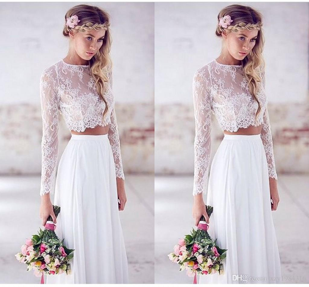 2015 Hot Sale Two-pieces Crop Top White Wedding Dresses Chiffon ...