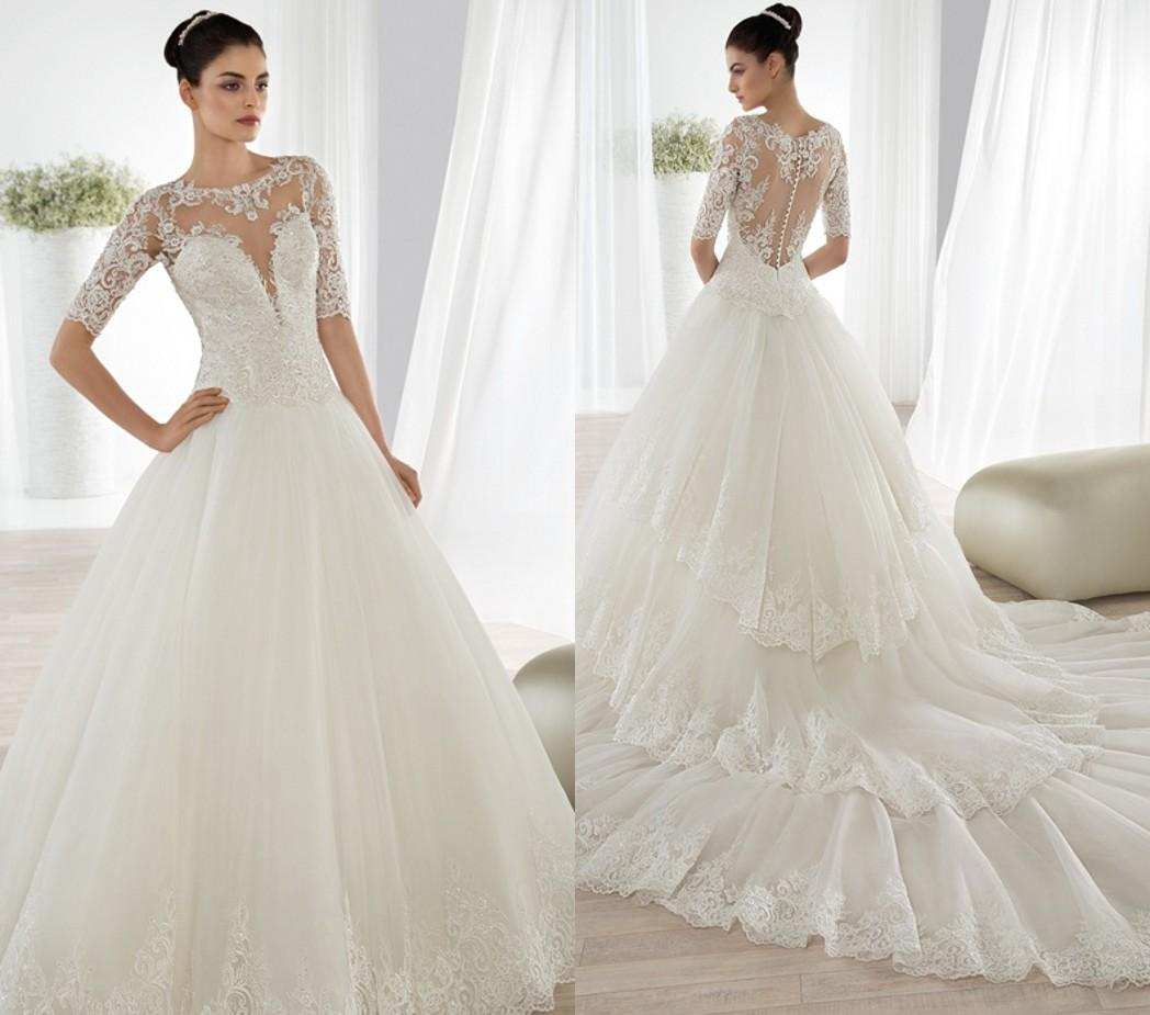 Wholesale Demetrios Wedding Dresses : Dresses sheer scoop demetrios beaded appliques lace bridal gowns