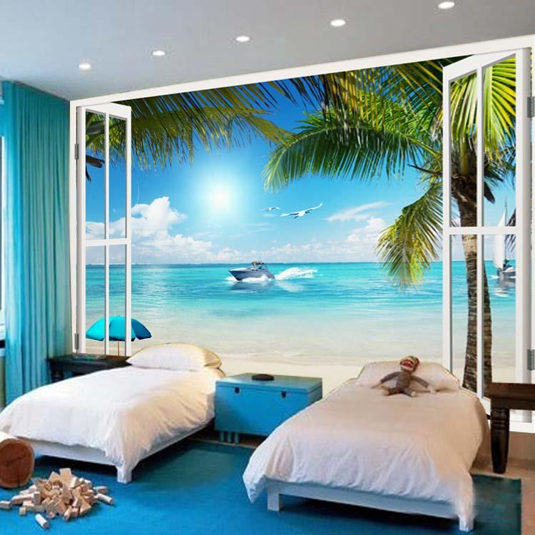 High Quality Large Wallpaper Window 3D Beach Seascape View Wall Stickers Art Mural Decal  Canvas Silk Wallpaper Living Bedroom Hallway Childrens Rooms Photo  Wallpaper ... Part 9
