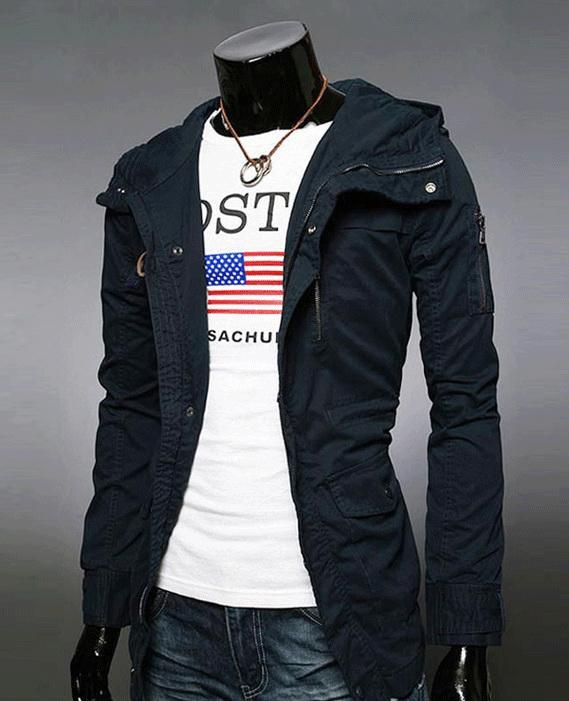Slim Casual Winter Jacket Men Men'S Fashion Solid Color Hooded