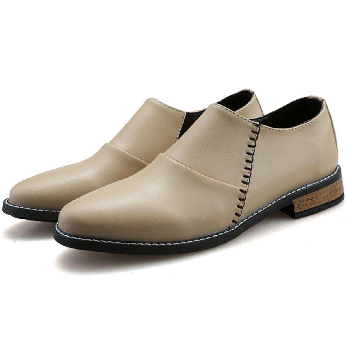 Elegant Stylish Italian Leather Mens Dress Shoes Slim Slip On ...