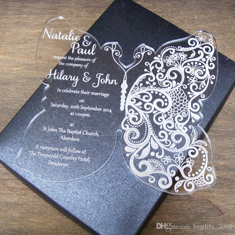 high quality acrylic clear butterfly wedding invitations card, invitation samples