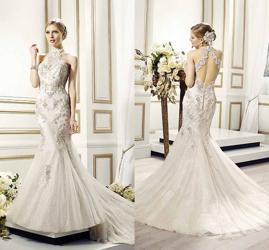 2015 New Luxury Lace Applique Halter Mermaid Wedding