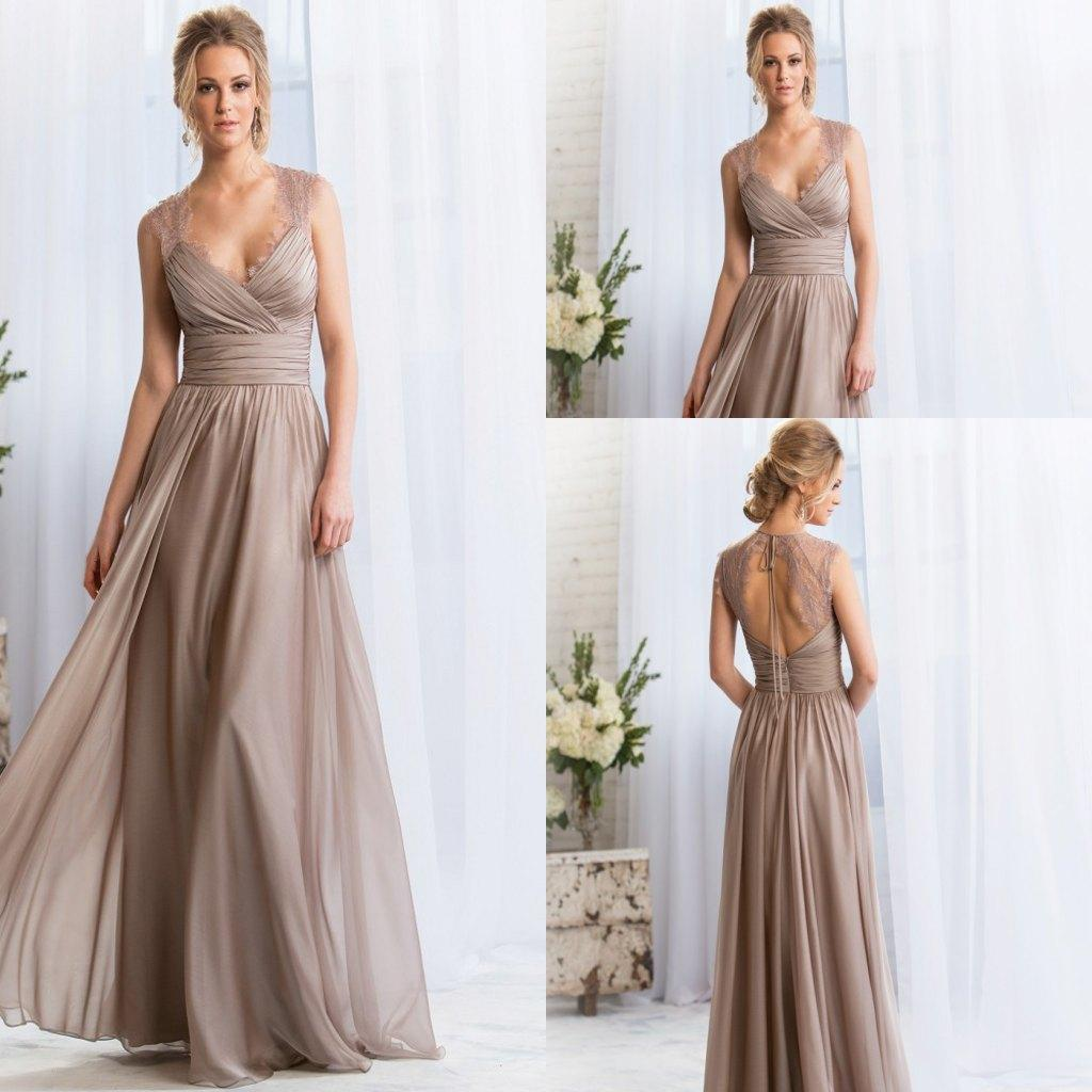 2015 v neck long silver bridesmaid dresses lace keyhole for Maid of honor wedding dress