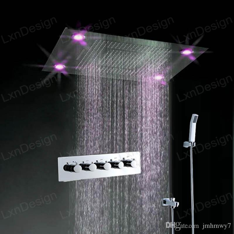 600800mm led rainfall electric shower head bathroom stainless shower headce passed
