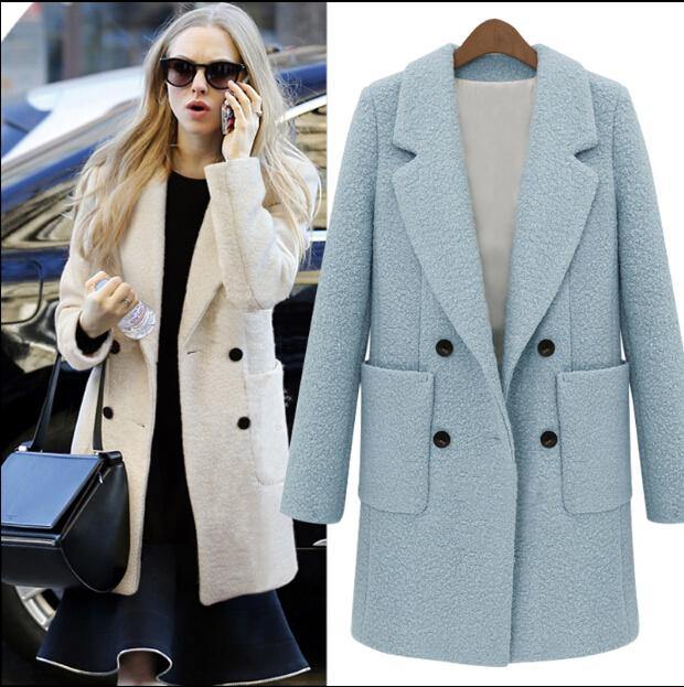 Autumn New Women Fashion Double Breasted Woolen Coats Ladies Sexy