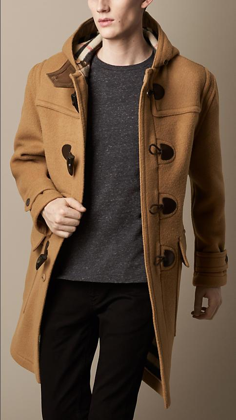 Men Overcoat Casual Horn Button Hood Trench Coats Oversize Wool ...