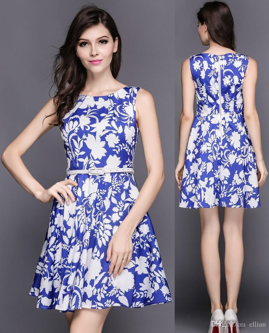 floral dresses line a women