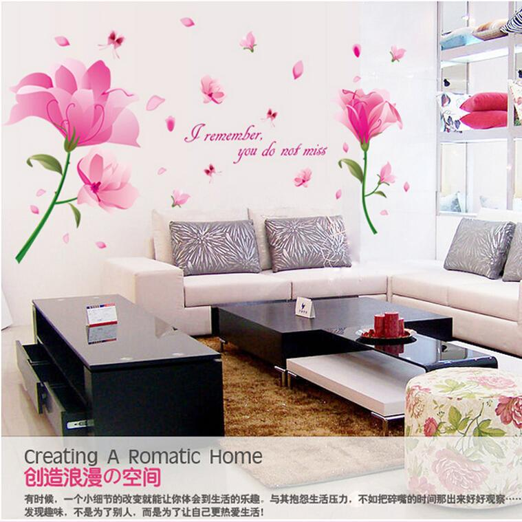 Bedroom Decor Kitchen Wall Tile Stickers 3d Effect Wall Stickers Pink Flower Home Decoration