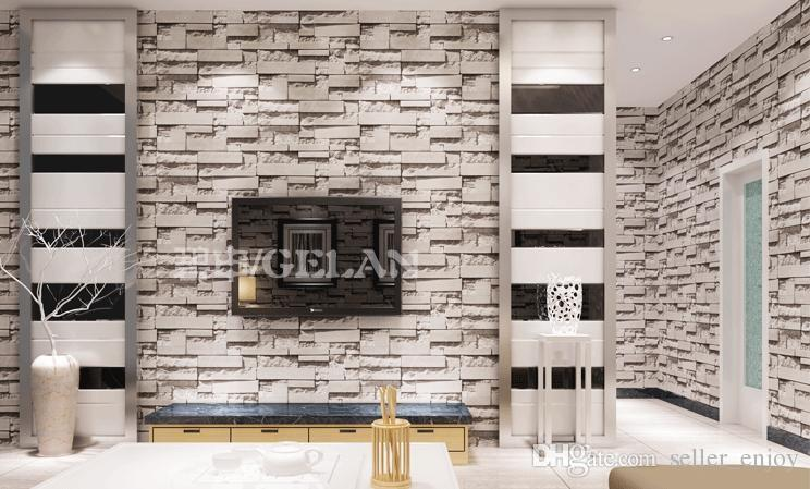 Chinese style dining room 3d wallpaper stone brick design for 3d wallpaper for wall in home
