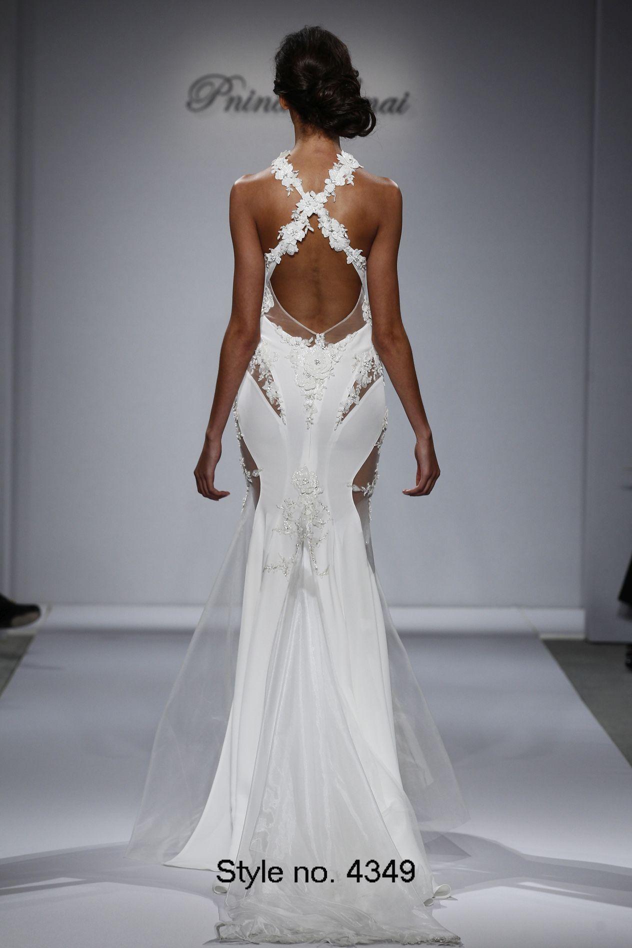Pnina Tornai 2015 Mermaid Wedding Dresses Beads Flowers