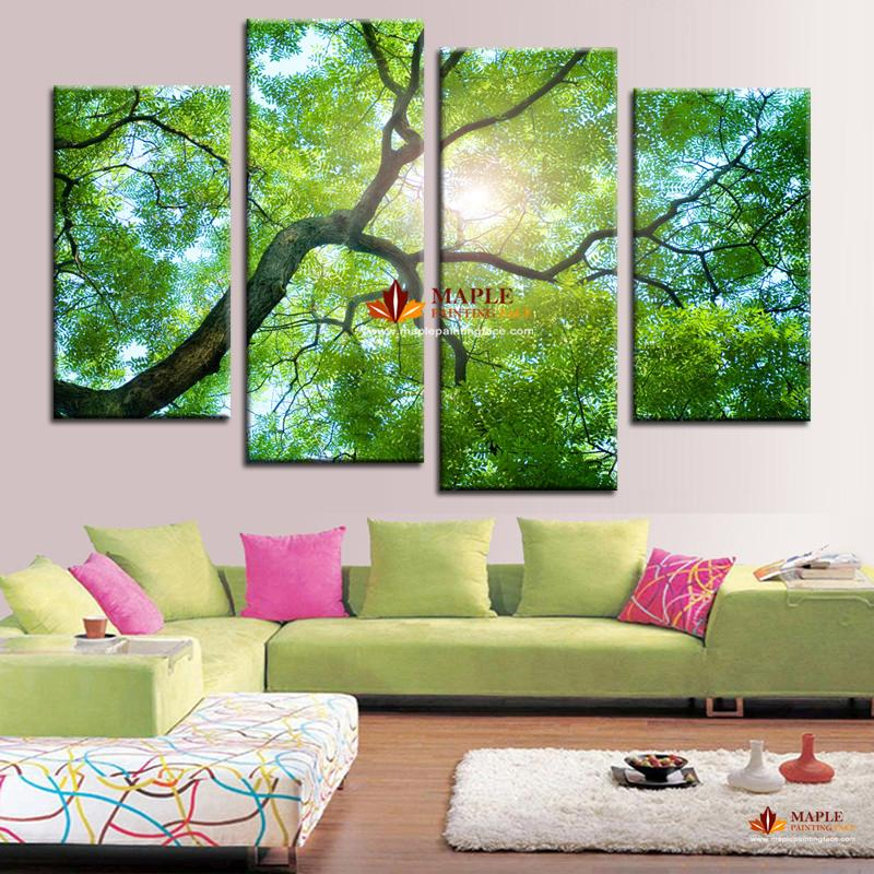 2017 hot sell canvas wall art green tree painting home for Decor 2 sell