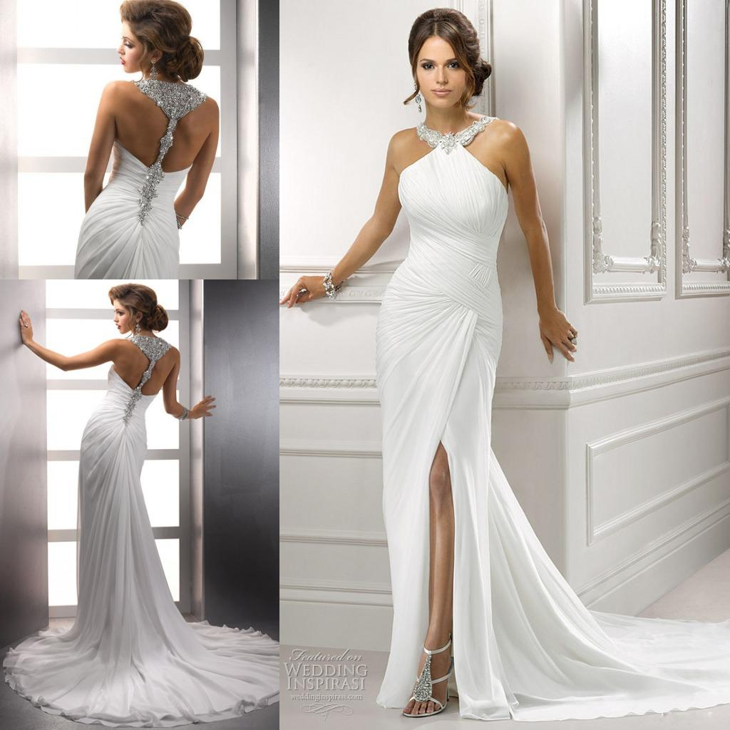 2015 sparkly beach wedding dresses bling bling white