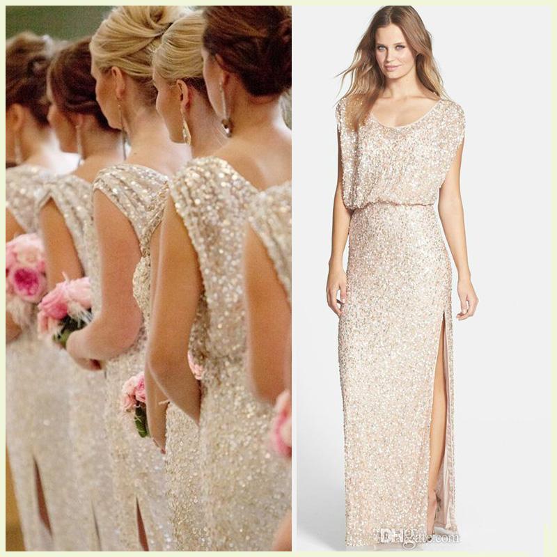 Sequins Rose Gold Long Bridesmaid Dresses Plus Size Split Scoop ...
