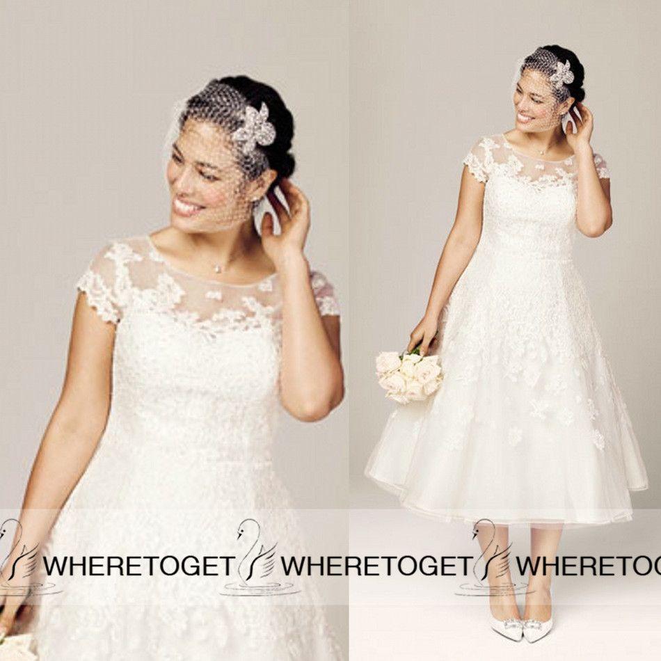 Fancy Custom Made Plus Size Tea Length Wedding Dresses A Line ...