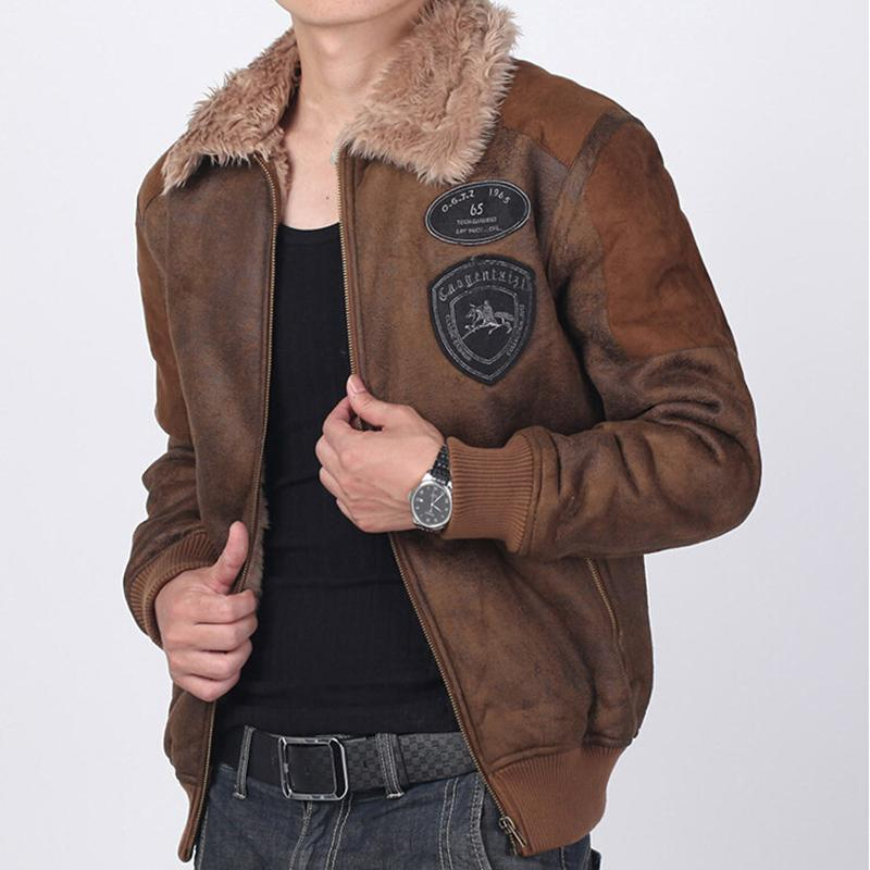 2017 Suede Bomber Jacket Mens Faux Fur Coat 2016 New Fashion ...