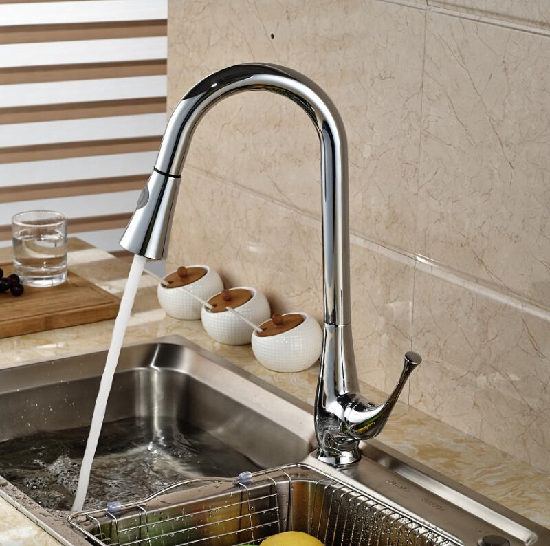 Cheap Kitchen Sink And Tap Sets pull out kitchen sink faucet spray hot&cold tap brass chrome