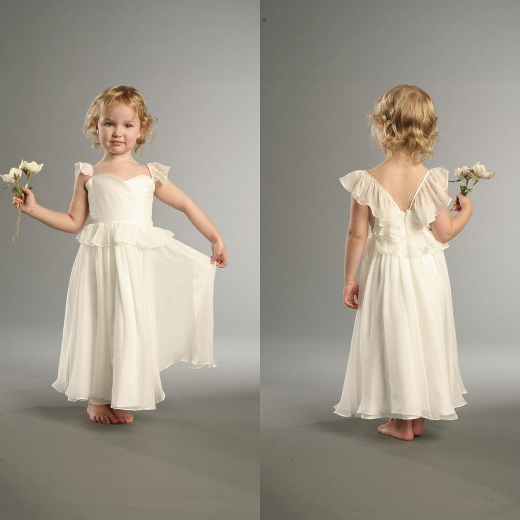 2014 Cheap! Ivory Flower Girl Dress Cap Sleeve Square Neck Chiffon ...
