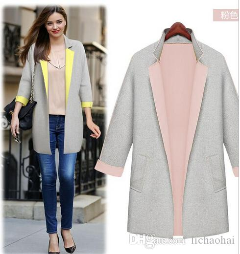 2017 2015 Celeb Style Fashion Color Block Overcoat Women ...