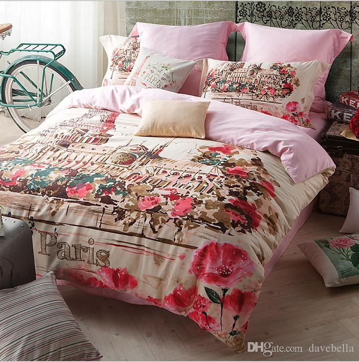 Popular High End Satin Bedding Suite Paris Oil Painting Streets Bed Linen Queen King Size Ab