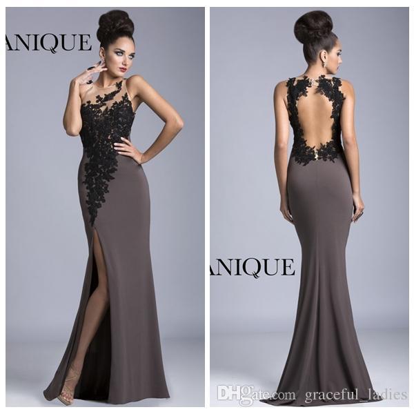 Grey Evening Dresses Mermaid Long Sleeves Side Slit Floor Length ...