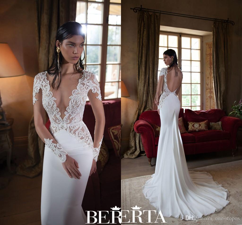 2016 Berta Wedding Dresses Lace Sexy Plunging V Neck Long
