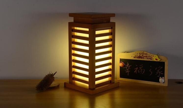 2017 Japanese Style Wood Table Lamp Bedroom Decorative Design Tatami Modern Desk Lantern E27