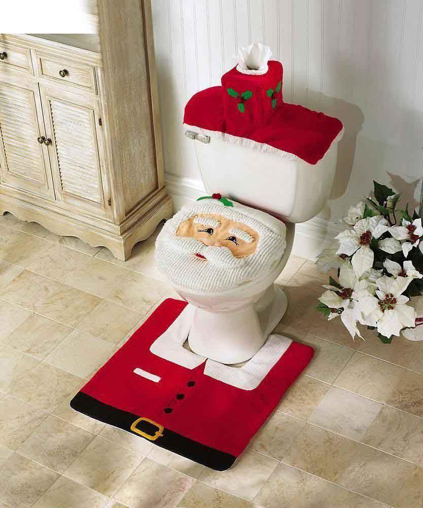 Christmas Bath Set Santa Toilet Seat Cover And Rug Bathroom Set - Burgundy toilet seat cover