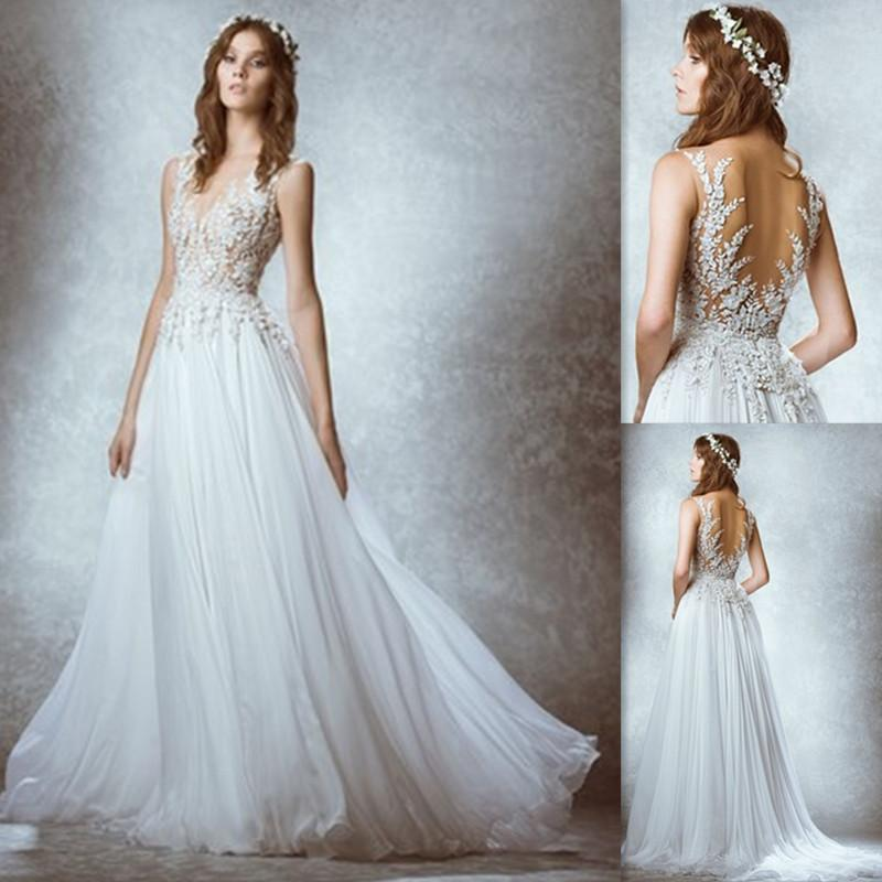 discount zuhair murad a line wedding dresses white chiffon applique lace vintage bridal gowns long floor length sexy back design dress for brides wedding