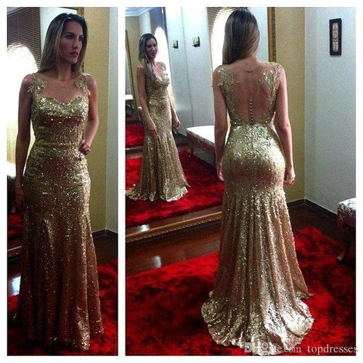 2015 New Gold Mermaid Long Prom Dresses Sheer Neck Sleeveless ...