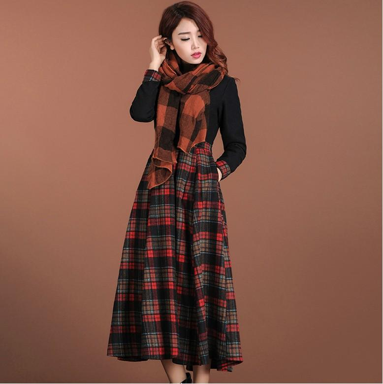 Online Cheap 2015 New Vintage Plaid Dress Women'S Long Sleeve Slim ...