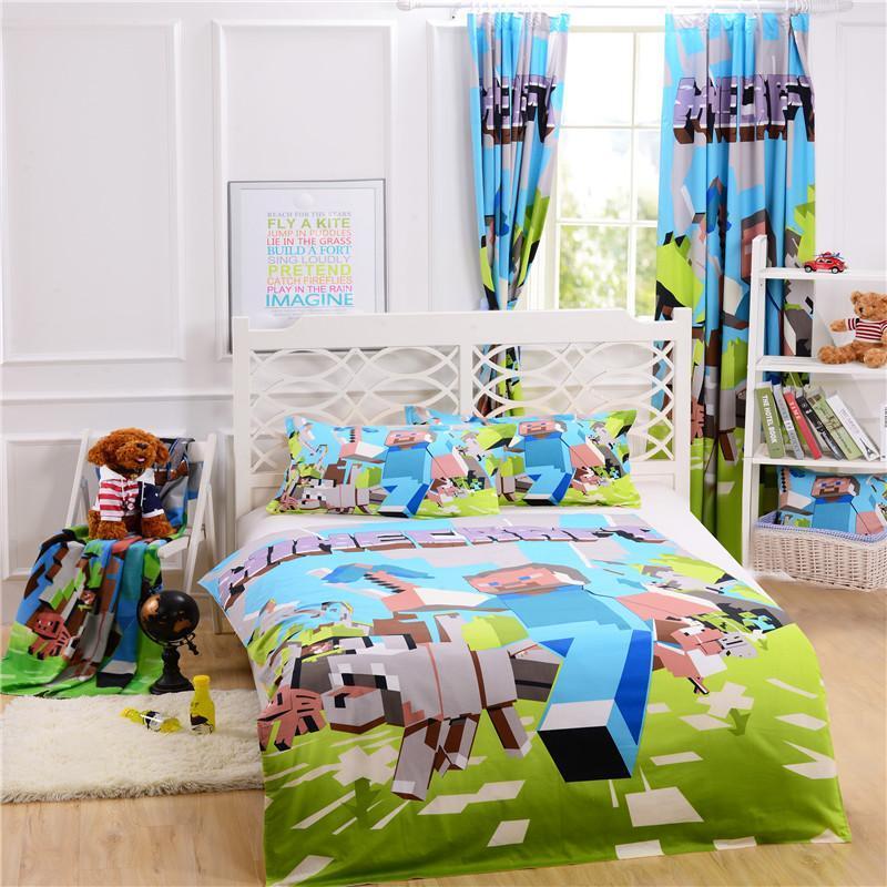 100% Original Cotton Minecraft Bedding Curtain Pillow Case Bedroom Bed ...
