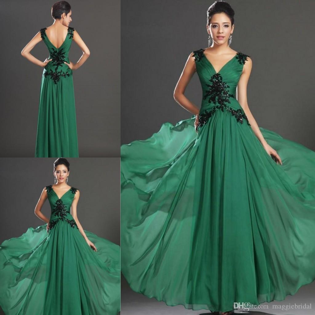 Gorgeous A Line Emerald Green Evening Dresses V Neck Empire Waists ...