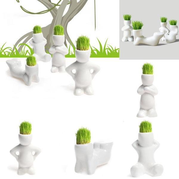 small man design diy ceramic pot bonsai mini white grass hair magic office garden desk table beautifying office bonsai grass pots planters mini