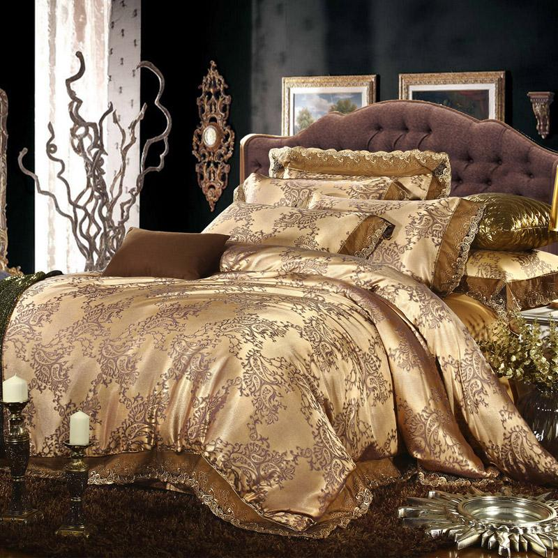 King bedding sets luxury - Cream Gold Colored Luxury Jacquard Silk Cotton Lace