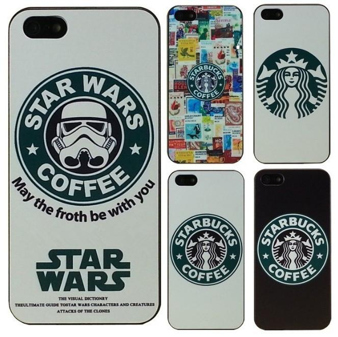 Hot Starbucks Star wars coffee design phone case iphone 4 4S 5 5s 5c Case DHL/SF/UPS Free